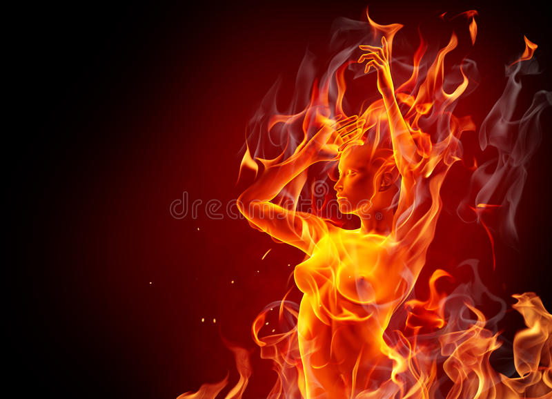 Download Fire girl stock illustration. Illustration of dark, horror - 21512198