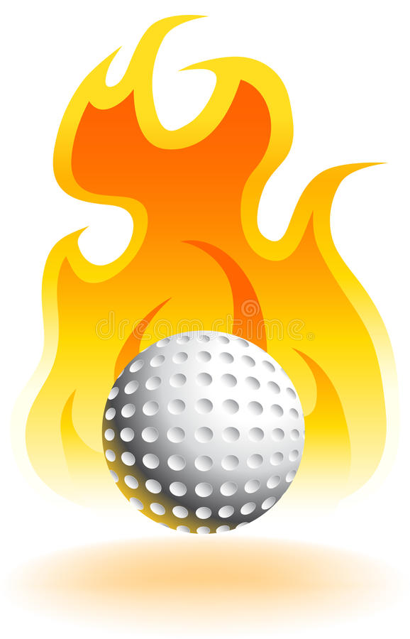 Fire Golfball - 3D. An image of flame with shadow with 3D golf ball vector illustration