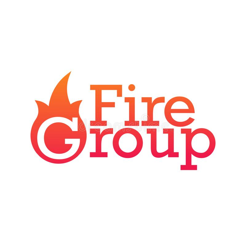 Fire Group department emblem or logo. Vector illustration isolated on white background. Fire Group department emblem or logo. Vector illustration isolated on royalty free illustration