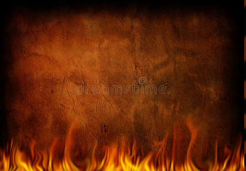 Fire Grunge. Fire and weathered grunge wall vector illustration