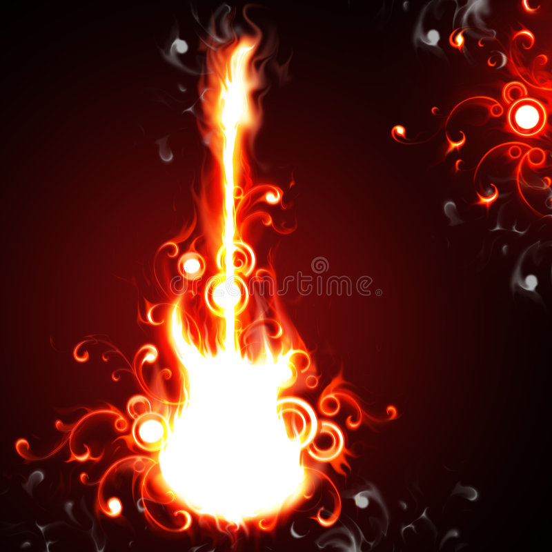 Fire guitar stock image