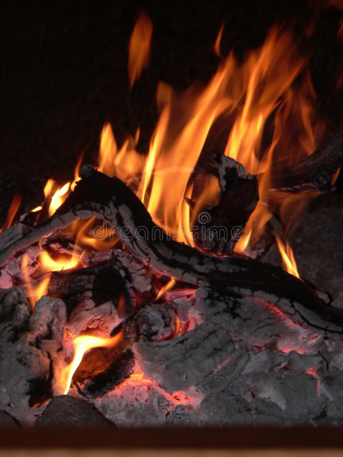 Fire. Hardwood fire burning midnight royalty free stock image