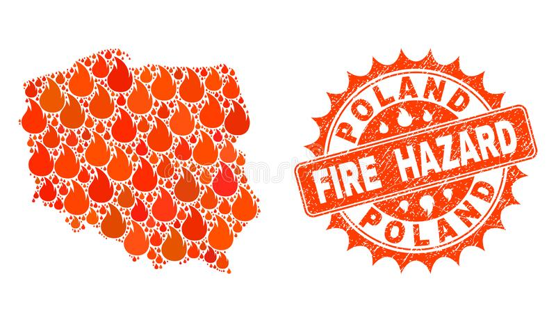 Composition of Map of Poland Burning and Fire Hazard Grunge Stamp Seal royalty free illustration