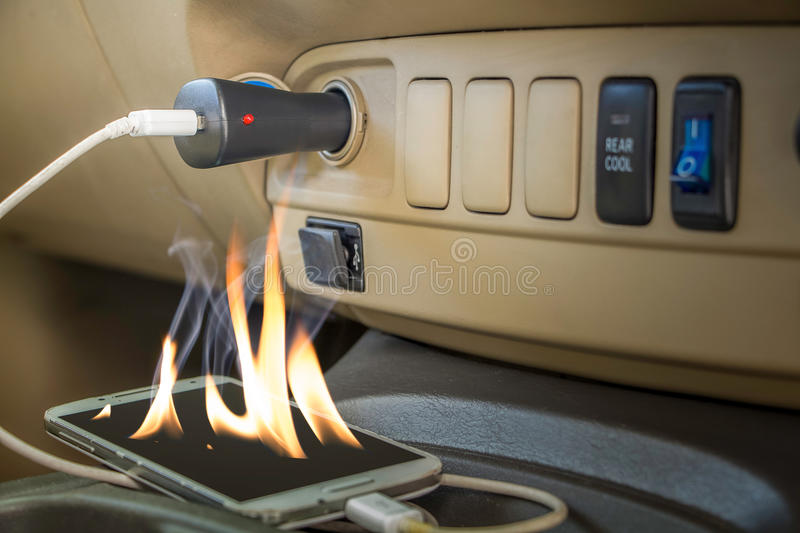 Fire hazard Forget charts phones royalty free stock image