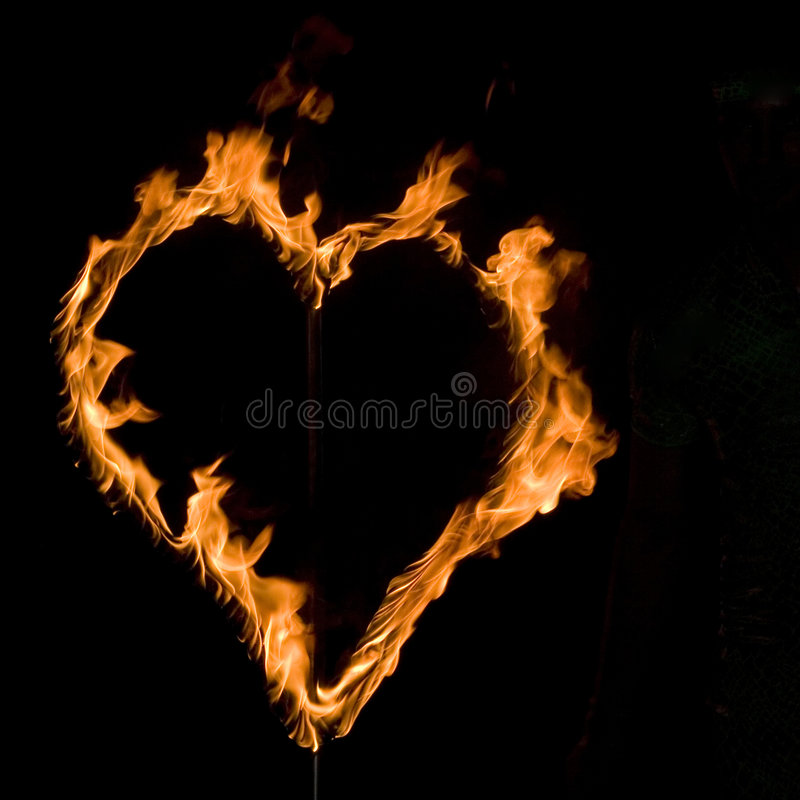 Fire heart stock image
