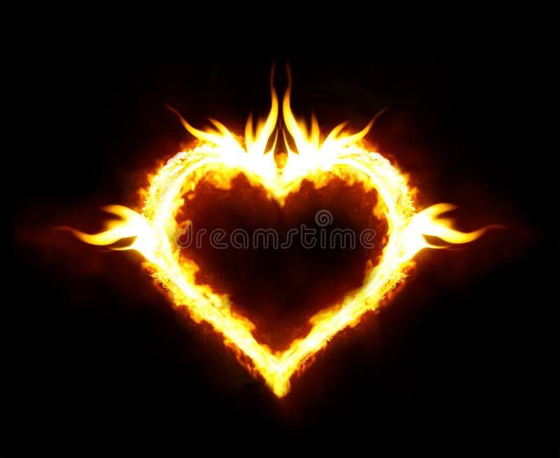 Fire heart stock photos