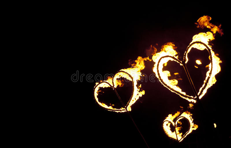 Fire hearts royalty free stock images
