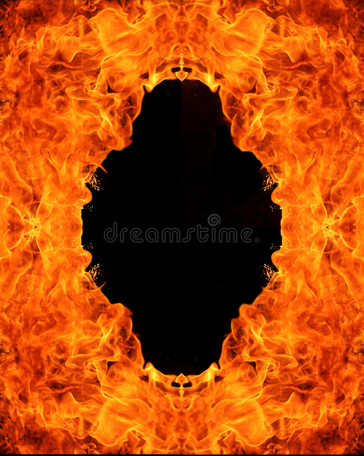 Fire hole. Big fire flame background with free space stock images