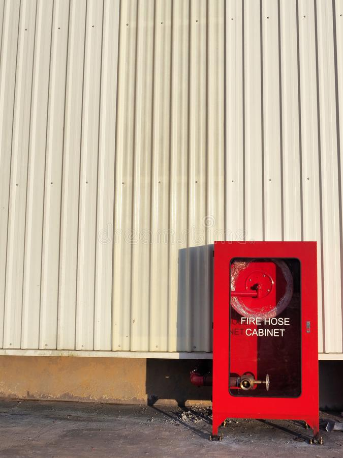 Fire Hose Cabinet Installed Outdoor. Of The Factory stock image