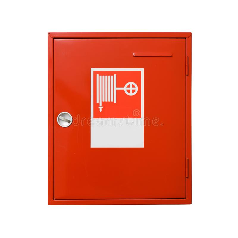 Fire hose cabinet isolated on white background. Include clipping path. Cabinet with fire extinguisher royalty free stock images