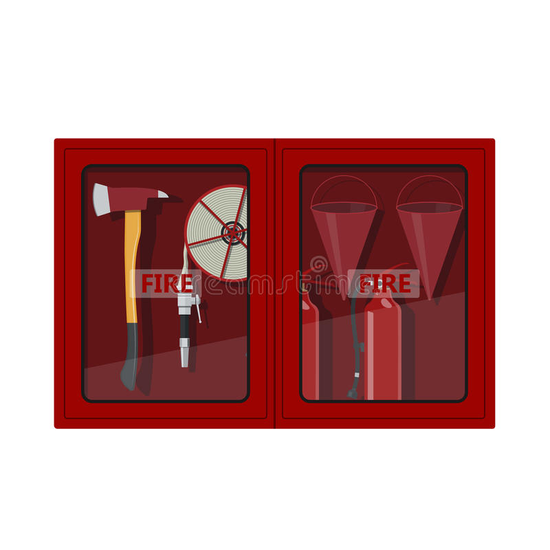 Fire hose cabinet on white background. Box with firefighter`s equipment: axe, extinguisher, hose and bucket royalty free illustration