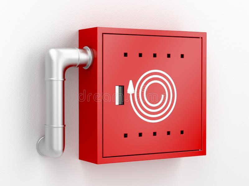 Fire hose reel cabinet. 3d rendered image vector illustration