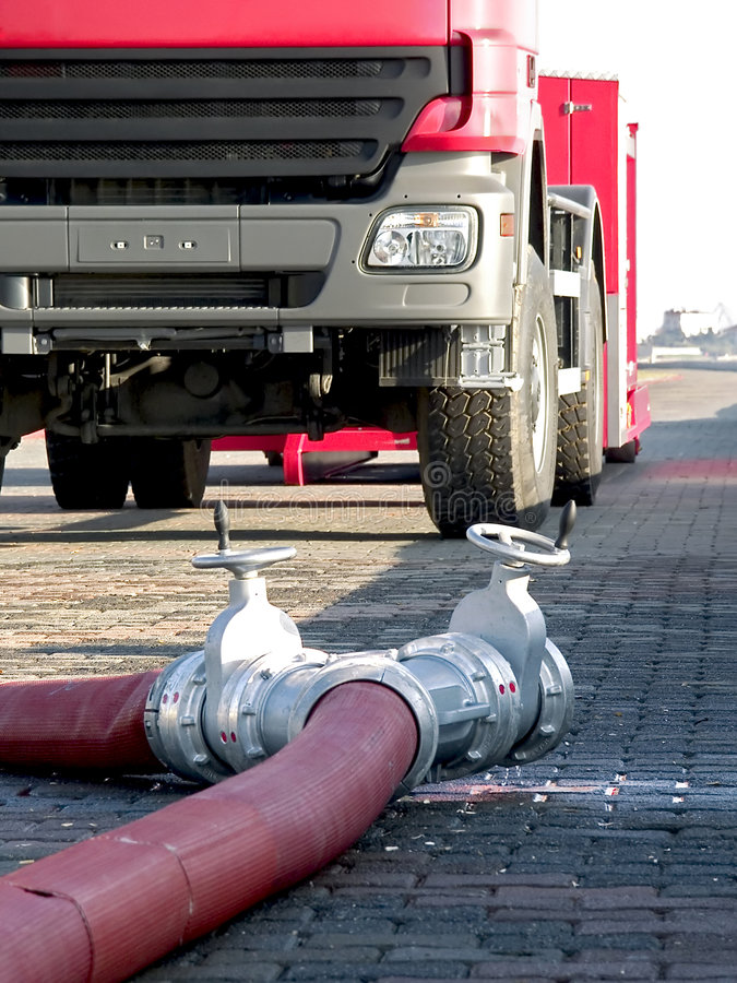 Fire hoses on ground royalty free stock images