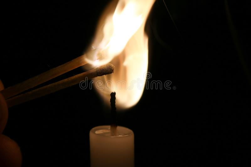 Fire. Hot, candle, yellow, black royalty free stock photo