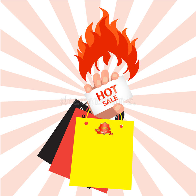Fire hot sale and Online shopping concept royalty free illustration