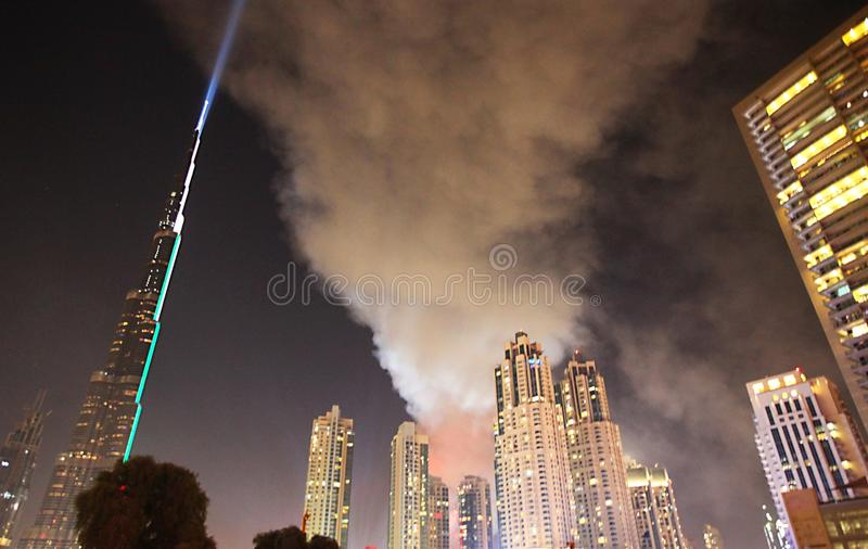 Fire hotel in Dubai. Fire luxury hotel The Address Dubai on December 31, 2015 royalty free stock photography