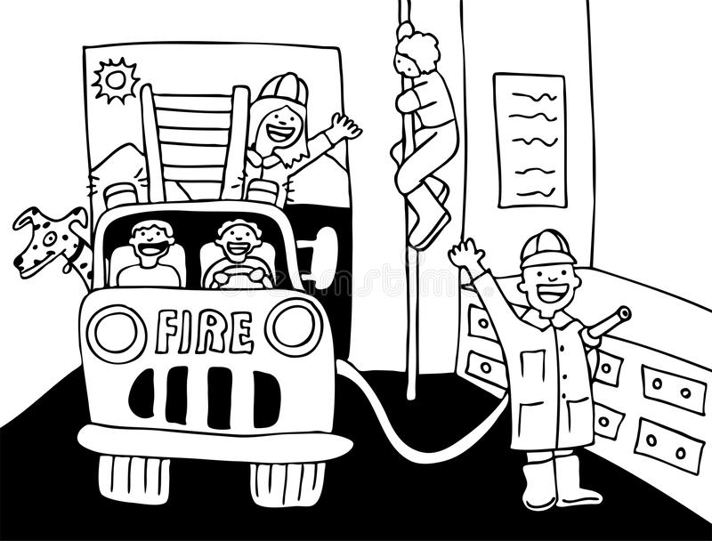 Fire House - black and white vector illustration