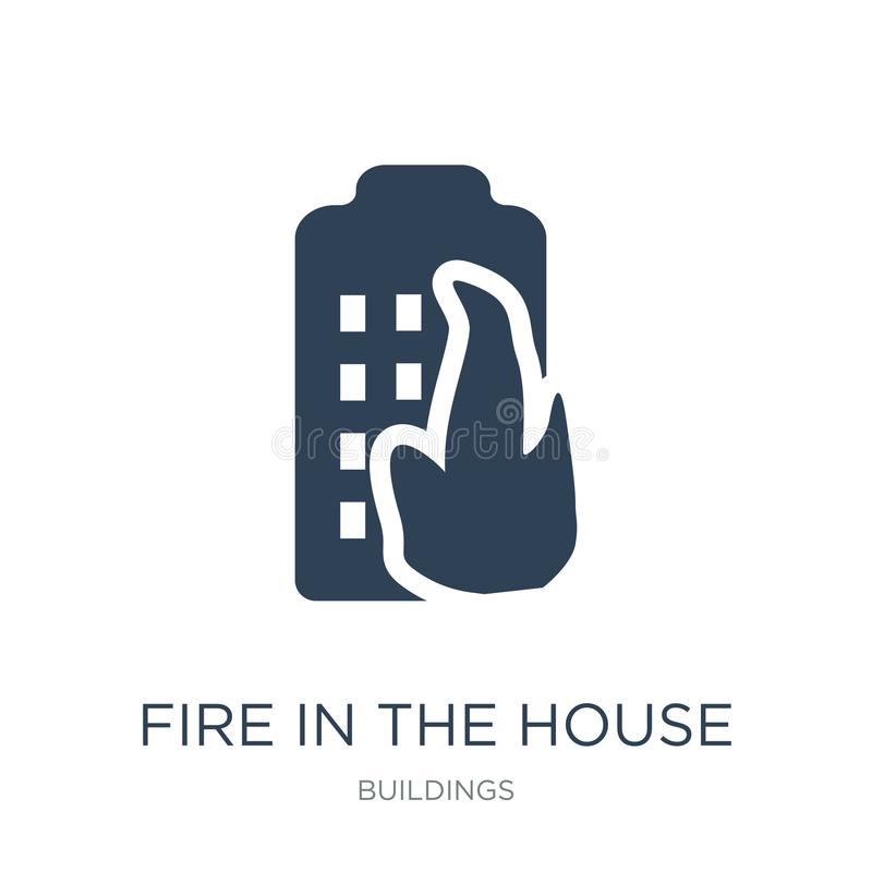 Fire in the house icon in trendy design style. fire in the house icon isolated on white background. fire in the house vector icon. Simple and modern flat symbol vector illustration