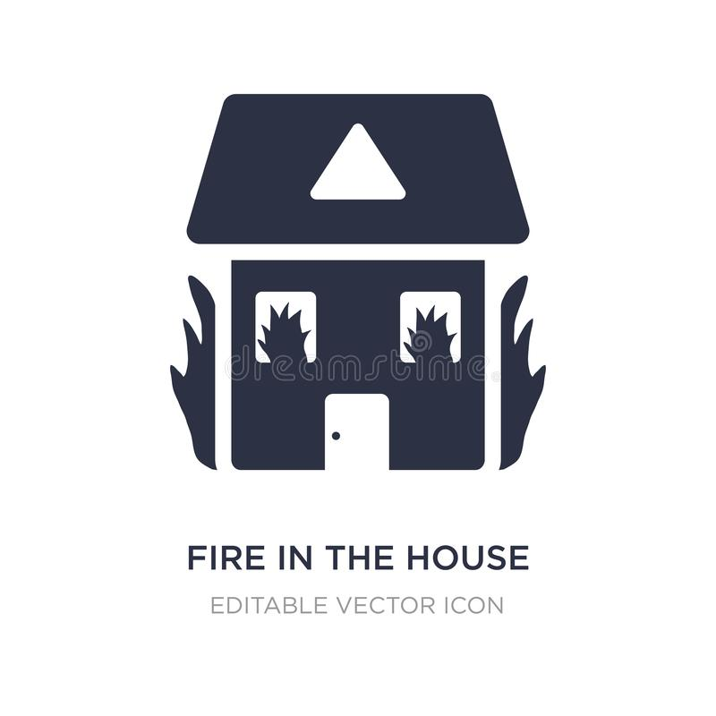 Fire in the house icon on white background. Simple element illustration from Buildings concept. Fire in the house icon symbol design royalty free illustration