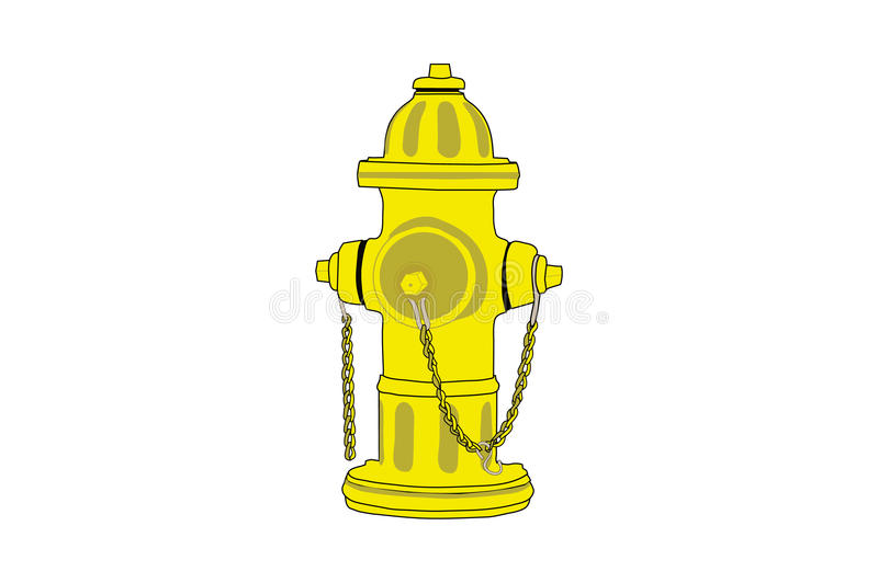 Fire Hydrant. Isolated yellow fire hydrant drawing vector illustration