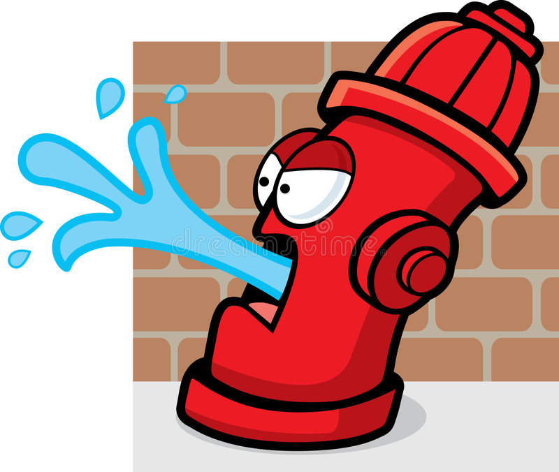 Fire Hydrant. A fire hydrant spitting water out of its mouth vector illustration
