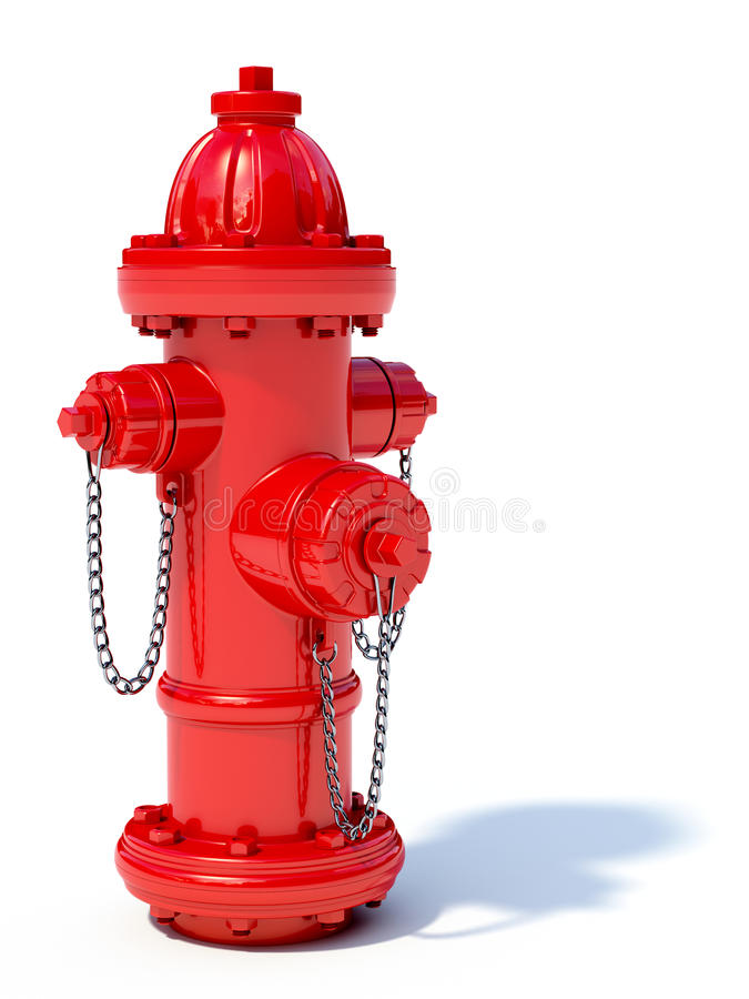 Fire hydrant. 3d illustration of red fire hydrant on white background stock illustration