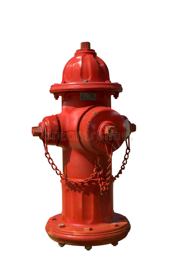 Fire Hydrant. Vintage Red Fire Hydrant isolated over white stock photos
