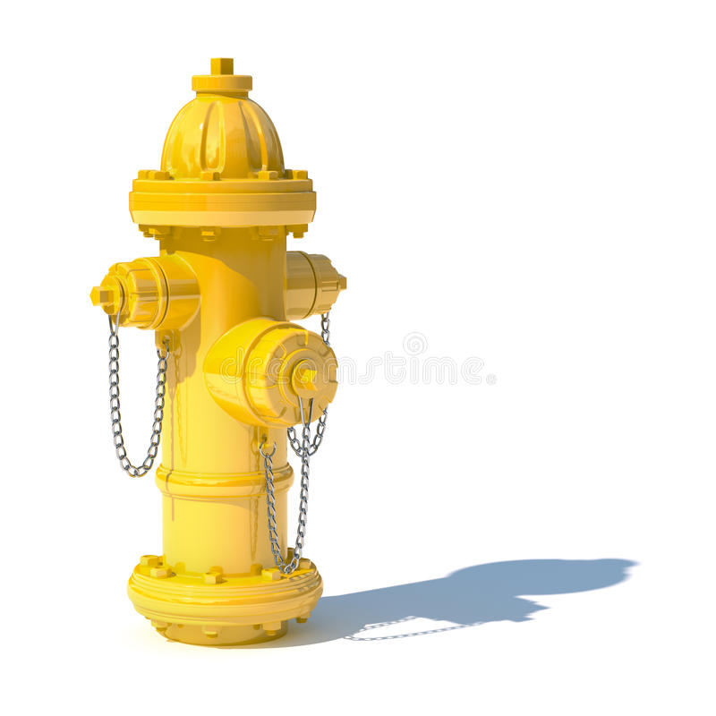 Fire hydrant. 3d illustration of yellow fire hydrant isolated on white background royalty free illustration