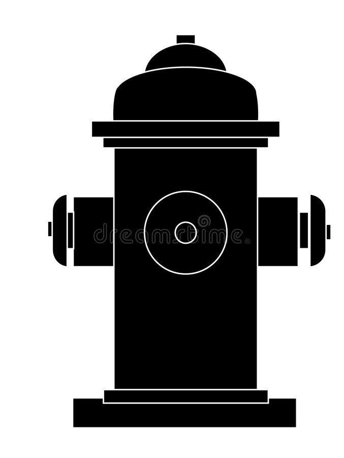 Fire hydrant. Outline or silhouette of fire hydrant stock illustration