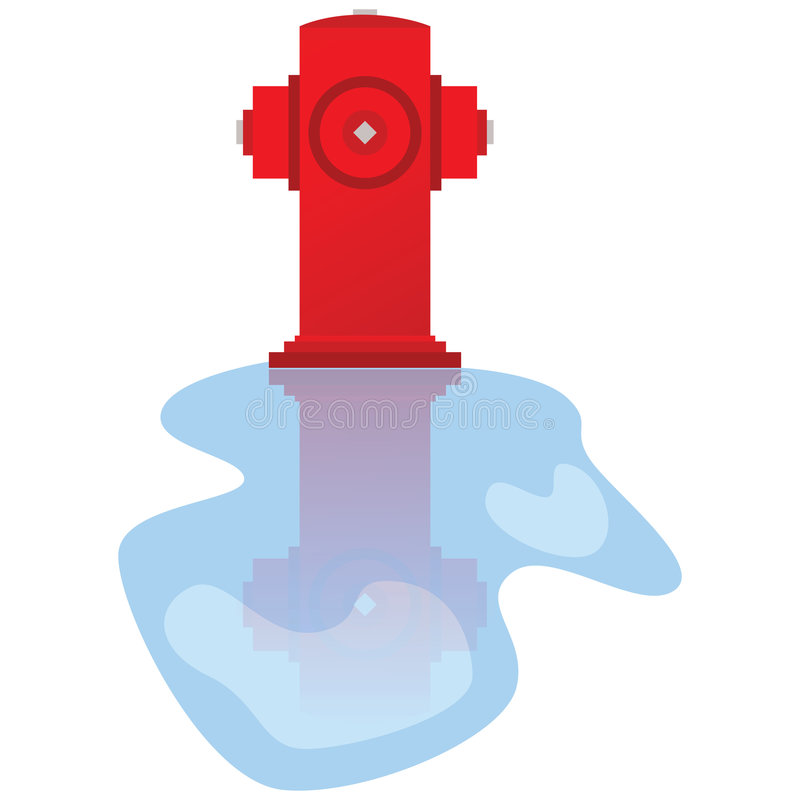Fire hydrant. Cartoon illustration of fire hydrant, with reflection on puddle of water stock illustration