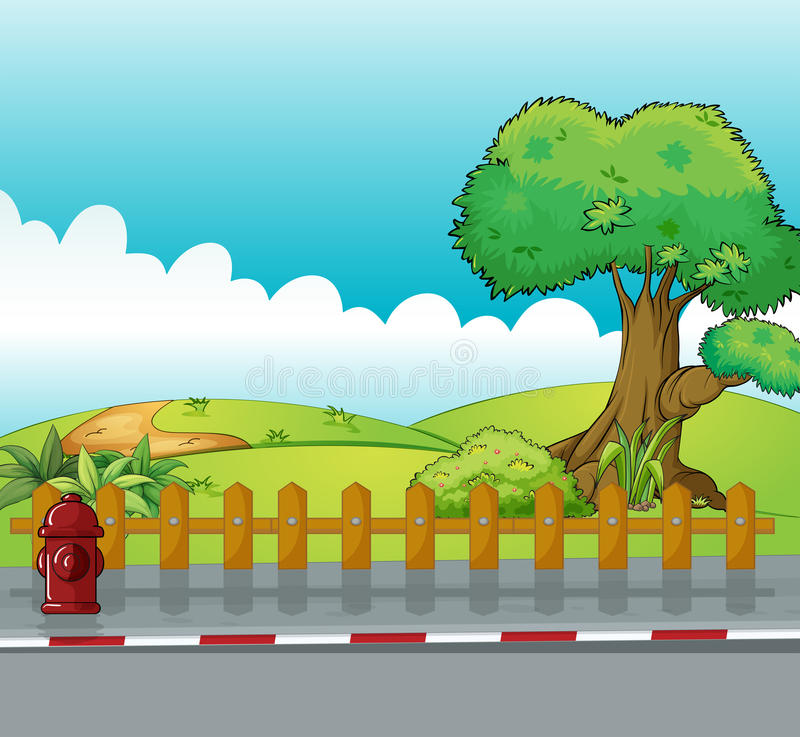 A fire hydrant and a beautiful landscape. Illustration of a fire hydrant and a beautiful landscape stock illustration