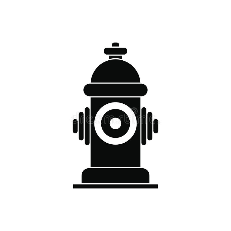 Fire hydrant black simple icon. On white background vector illustration