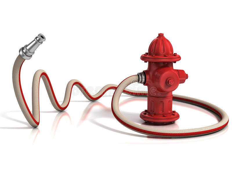 Fire hydrant with fire hose. 3d illustration vector illustration
