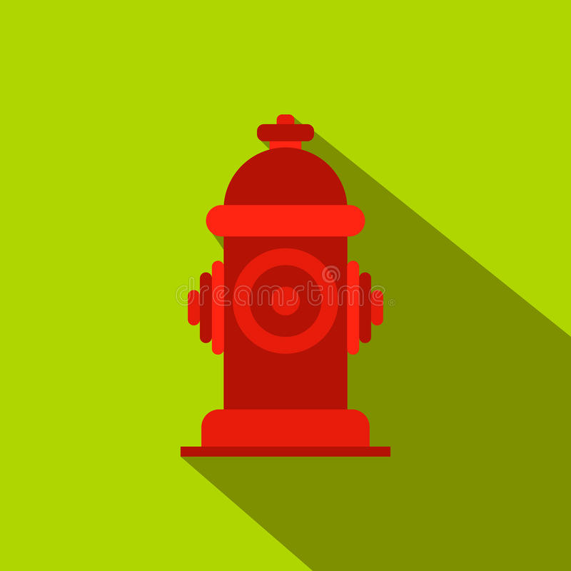Fire hydrant flat icon. On a green background vector illustration