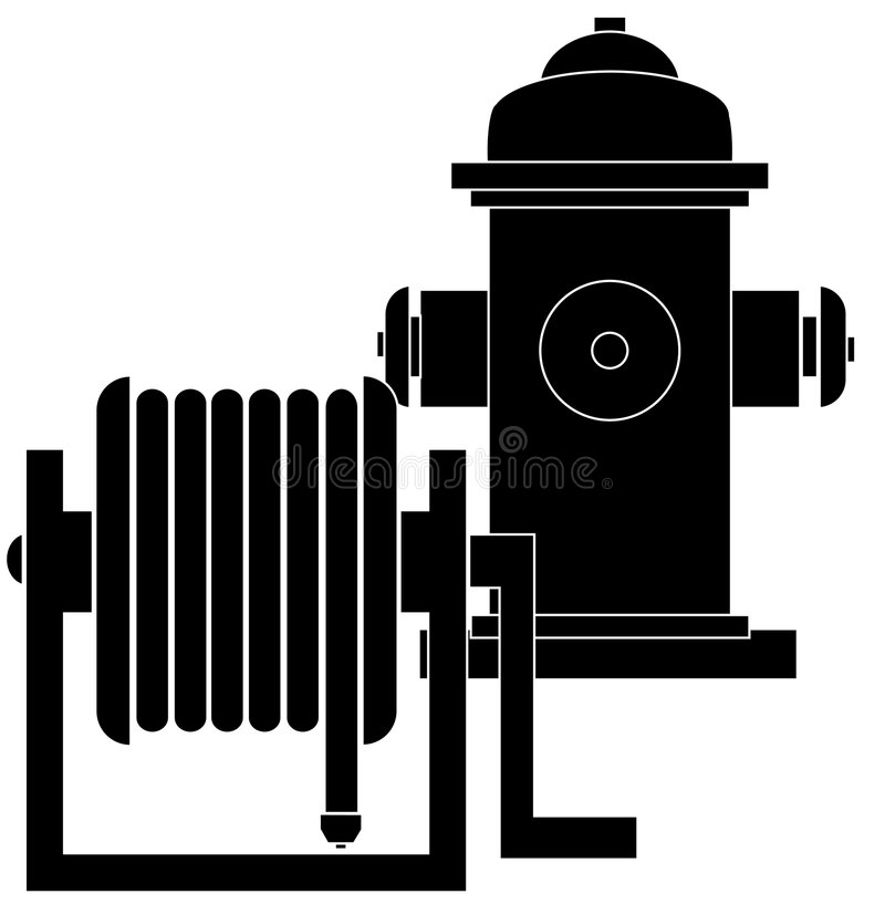 Fire hydrant and hose reel. Silhouette of hose reel and fire hydrant - vector royalty free illustration