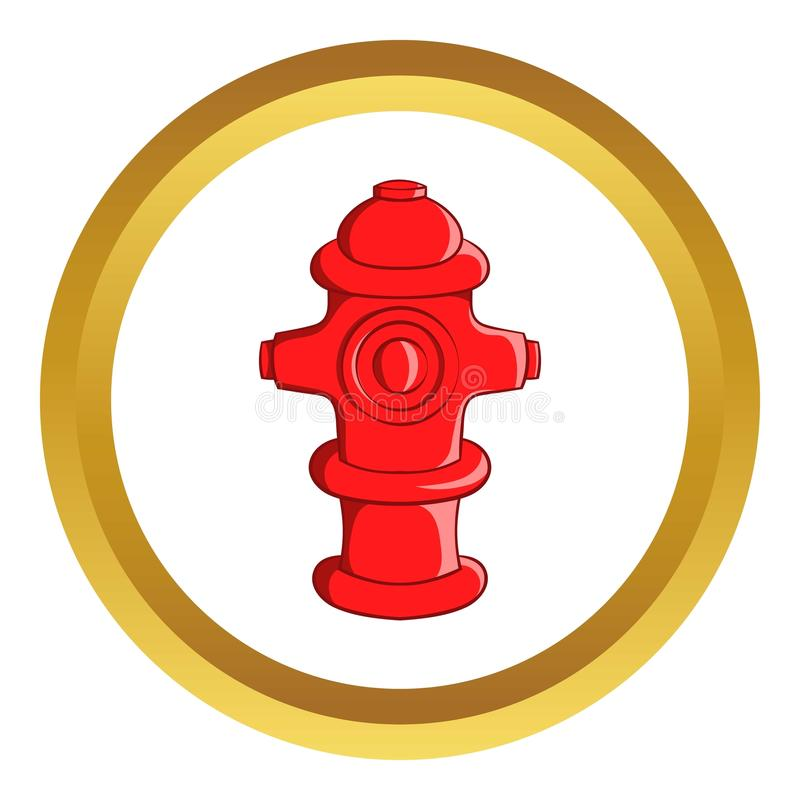 Fire hydrant icon. In golden circle, cartoon style isolated on white background vector illustration
