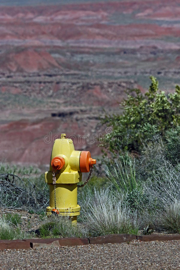 Fire Hydrant. Lone emergency water supply source stock image