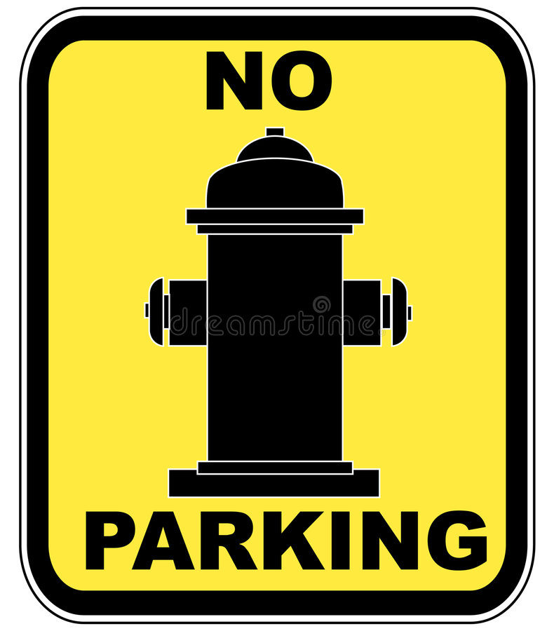 Fire hydrant - no parking. Yellow no parking near fire hydrant sign - vector royalty free illustration