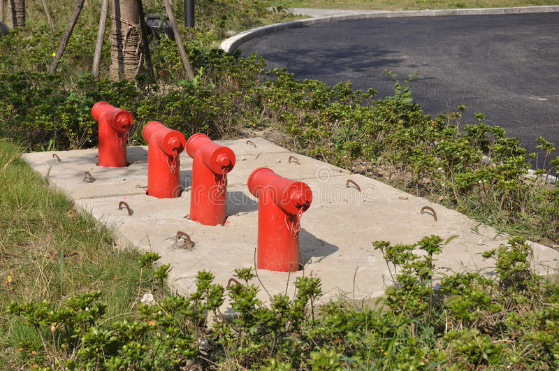 Fire hydrant outdoor. This is taken in a new plaza, fire hydrants are placed several areas in outdoor square stock image