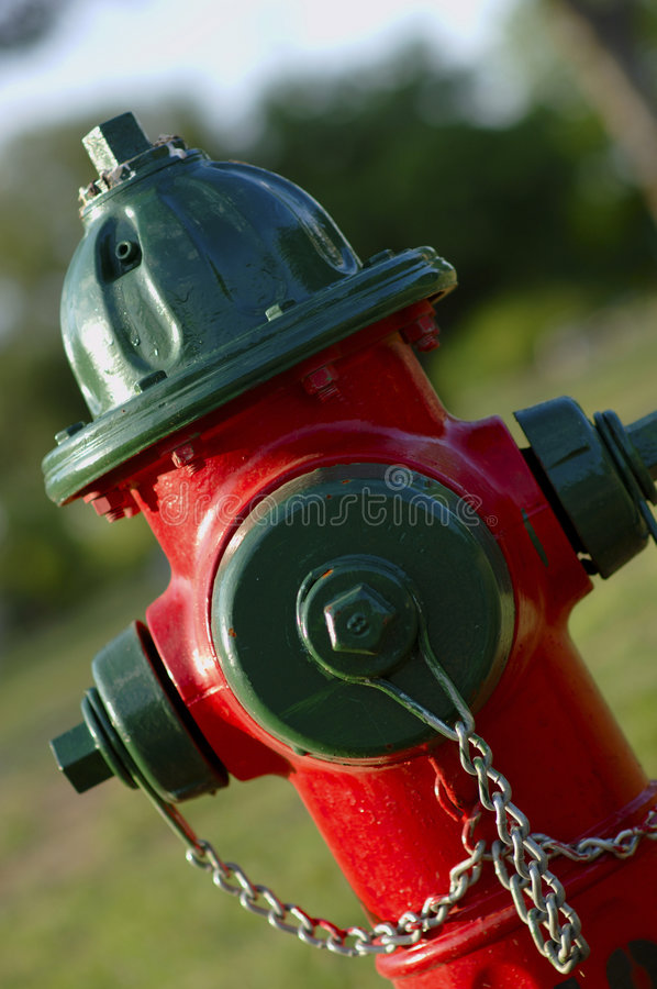 Fire Hydrant - Red and Green royalty free stock photography