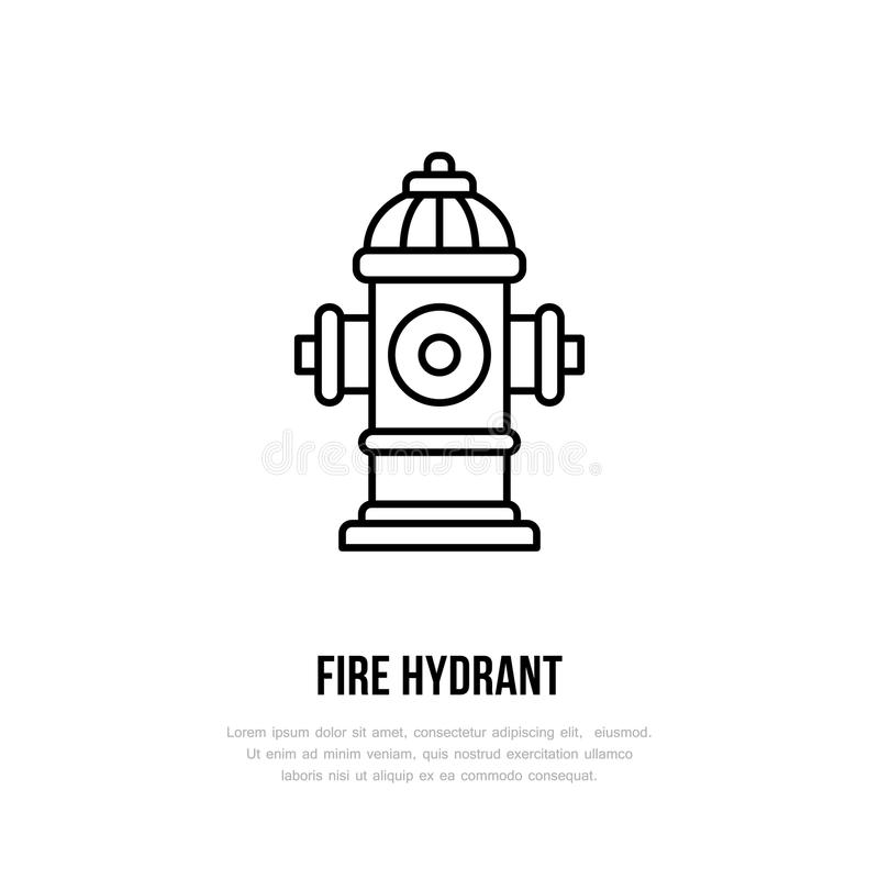 Fire hydrant sign. Firefighting, safety equipment flat line icon.  vector illustration