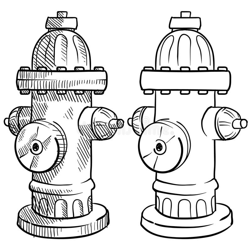 Fire hydrant sketch. Doodle style fire hydrant vector illustration royalty free illustration
