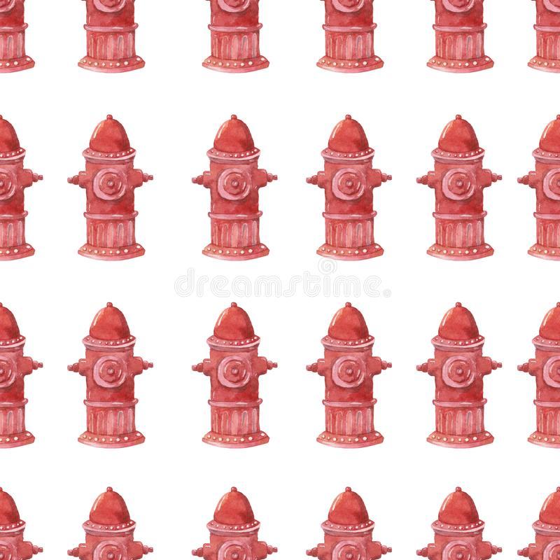Fire hydrant watercolor illustration on white background. Fire safety equipment emergency tools firefighter seamless pattern safe. Fire safety equipment stock illustration