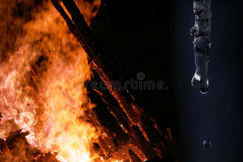 Fire and ice. Photo collage - fire and ice in a picture stock images