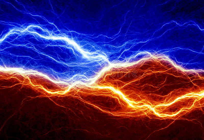 Fire and ice abstract lightning vector illustration