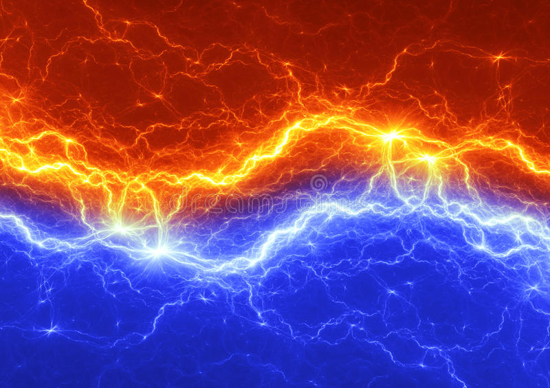 Fire and ice abstract lightning stock illustration