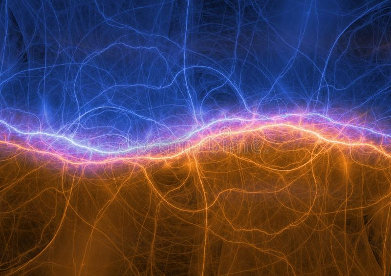 Fire and ice lightning or sound waves. Visualization, digital electrical background vector illustration