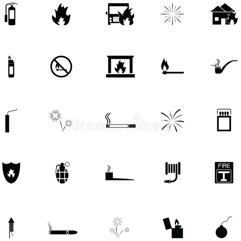 Fire icon set. The fire of icon set stock illustration