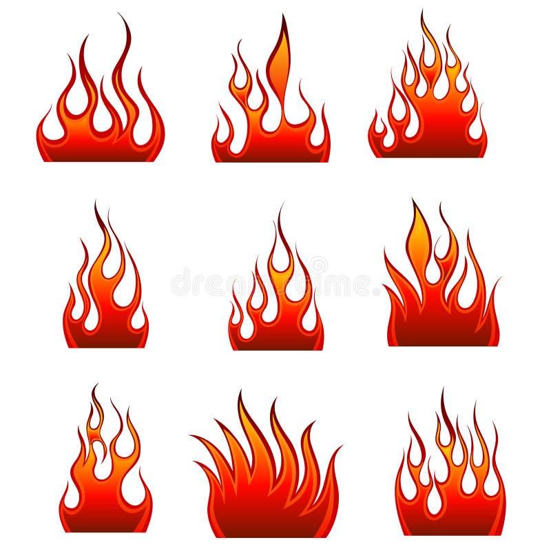 Fire Icon Set Royalty Free Stock Photo