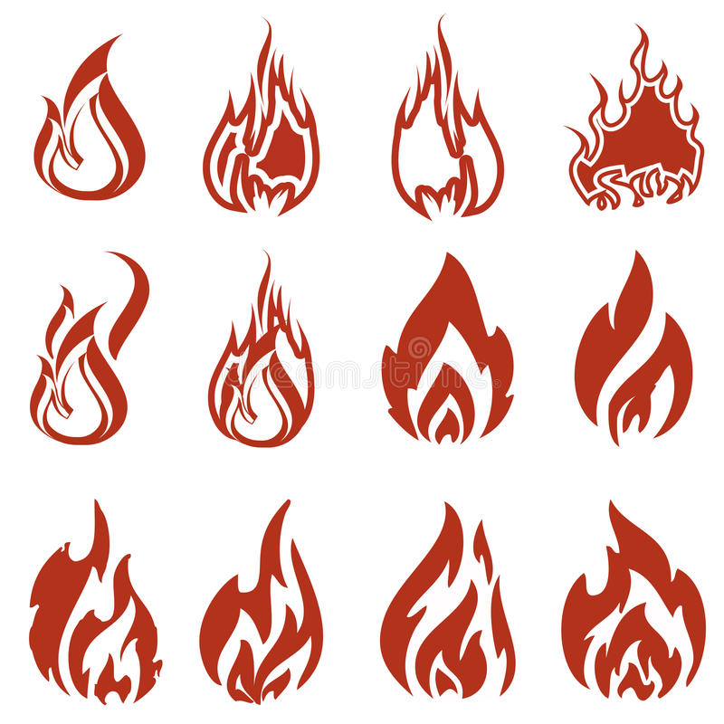 Download Fire icon set stock vector. Image of flame, conceptual - 32367266
